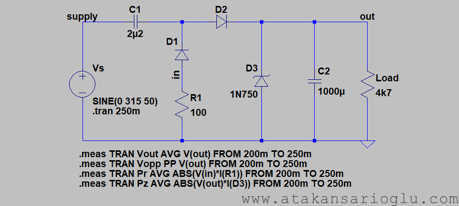 ltspice spice circuit diagram 220vac 230vac 240vac capacitive supply simple
